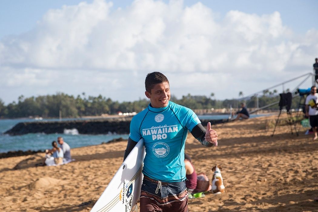 Peterson Crisanto is all smiles today.   © WSL / Keoki