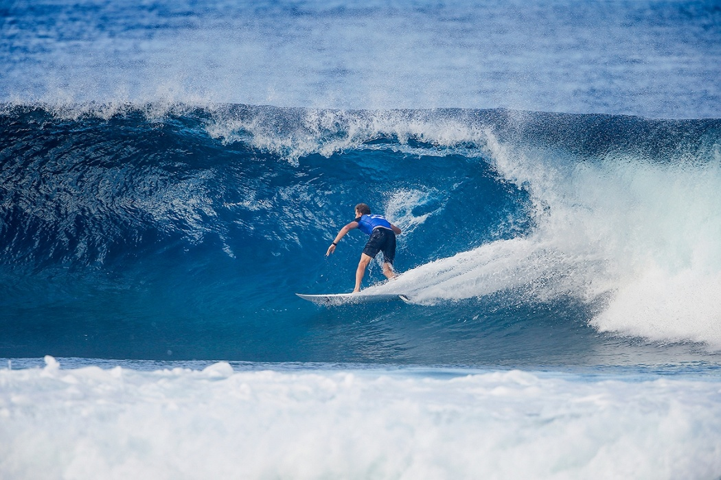 Bede Durbidge on the last CT heat of his career.   © WSL / Heff