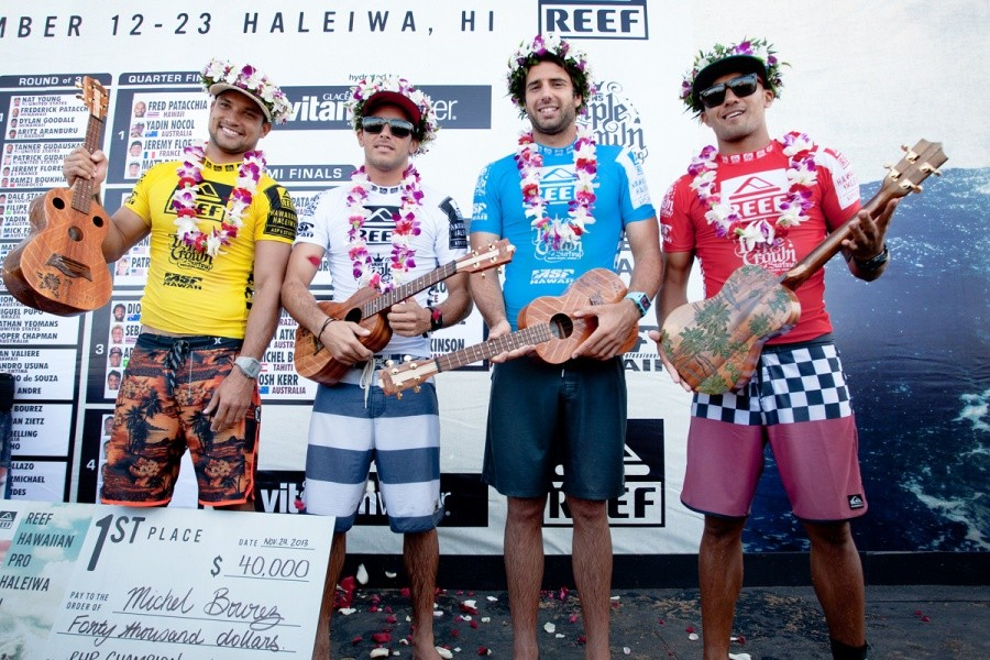Reef Hawaiian Pro finalists - Michel Bourez (PYF) in 1st, Jeremy Flores (FRA) in 3rd, Dion Atkinson (AUS) in 4th and Fred Patacchia (HAW) in 2nd.   © ASP / Cestari