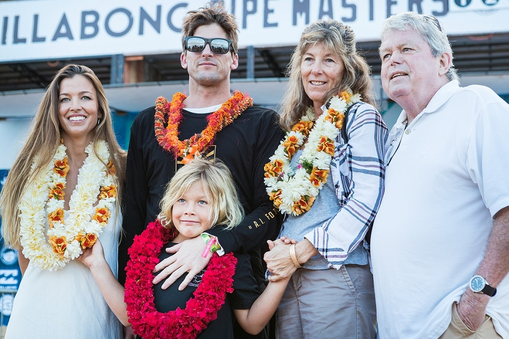 The Irons family at the Billabong Pipe Masters opening ceremony.   © WSL / Cestari