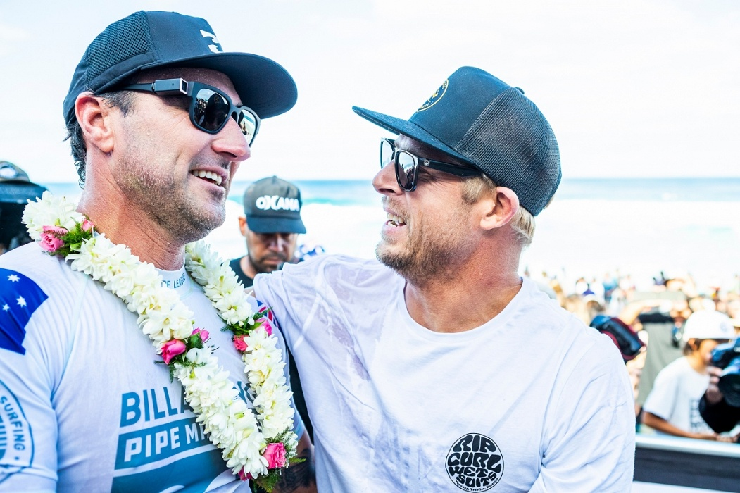 Joel Parkinson and Mick Fanning.   © WSL / Cestari